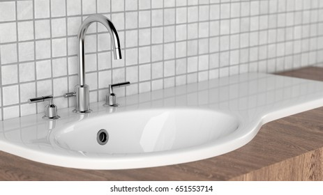 Modern bathroom with basin with white tiles and wood 3d rendering