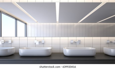 Modern bathroom with basins , 3d rendering