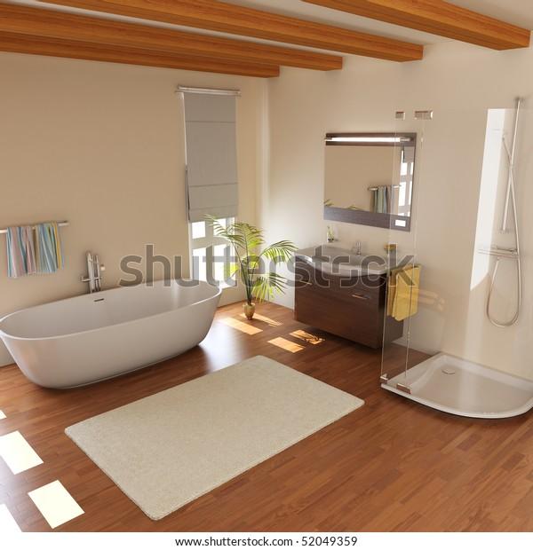 modern bathroom with bathtub.3d render