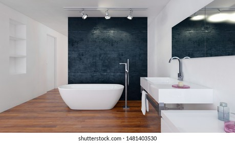 Modern bathroom with black and white decor, a boat-shaped tub and wall-mounted vanity over a wooden floor. 3d rendering