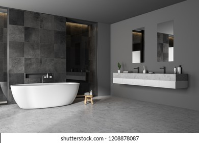 Modern bathroom corner with black tile walls, concrete floor, white bathtub and double sink. 3d rendering