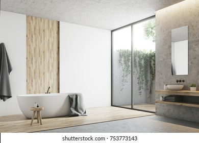 Modern bathroom corner with white, concrete and wooden walls, a large window, a bathtub, a sink and a mirror. 3d rendering mock up