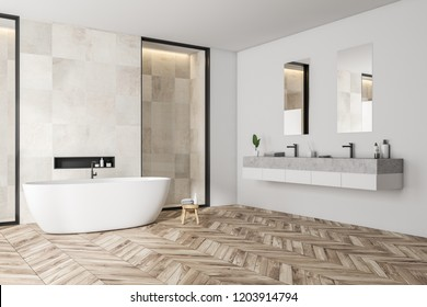 Modern bathroom corner with white tile walls, wooden floor, white bathtub and double sink. 3d rendering