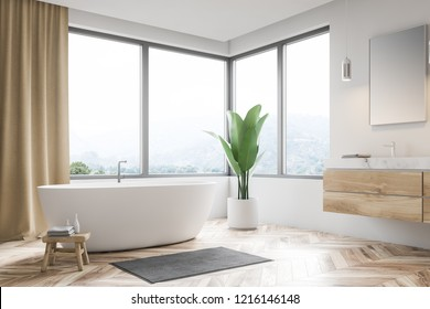 Modern bathroom corner with white walls, wooden floor, window with beige curtains, white bathtub and sink. 3d rendering