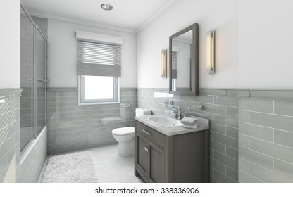 Modern Bathroom in Country House 3d Rendering