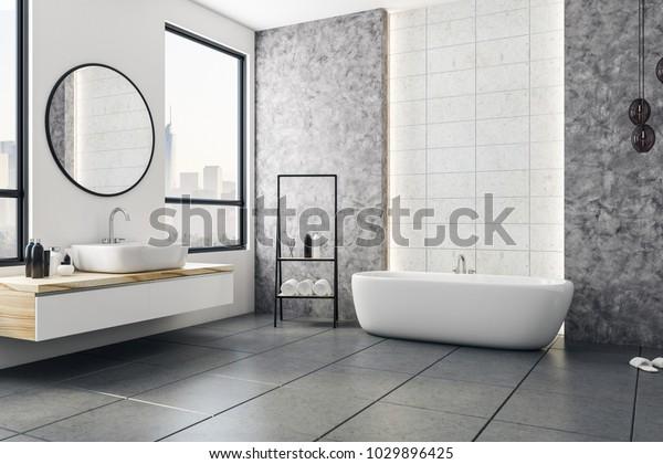 Modern badkamer interieur met uitzicht op de stad en blanco poster op muur. Ontwerp en stijl concept. Spot op, 3D Rendering