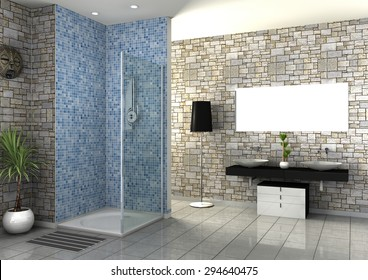 Modern Bathroom interior collection 3D rendering