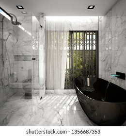 Modern Bathroom Interior design ,3d rendering ,3d illustration