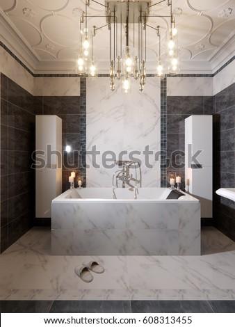 Modern Bathroom Interior Design Gray White Stock Illustration