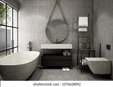 Modern Bathroom Interior design,3d rendering ,3d illustration