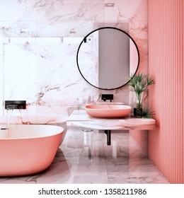 Modern Bathroom Interior design,coral living trend design 2019 ,3d rendering ,3d illustration