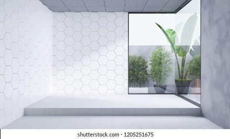 Modern  Bathroom interior design,empty room, white tile wall and concrete floor tile ,3d render