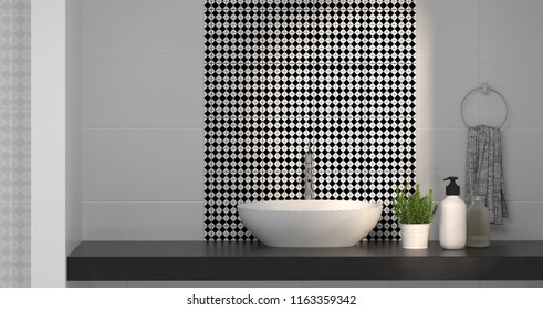 modern bathroom interior design,sink,toilet,shower,home 3D rendering for copy space background white tile bathroom