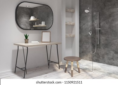 Modern bathroom interior with empty picture frame. Style and design concept. Mock up, 3D Rendering