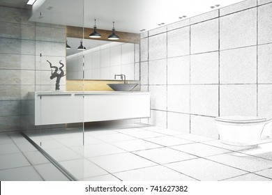 Modern Bathroom Interior With Glass Wall And Appliances 3D Rendering