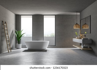 Modern bathroom interior with gray walls, concrete floor, loft windows, white bathtub and marble double sink. 3d rendering