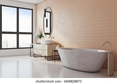 Modern bathroom interior with marble bath, washbasin, mirror and city view. Design, apartment and hotel concept. 3D Rendering
