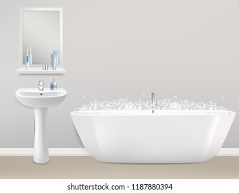 Modern bathroom interior realistic illustration. White bathtub with soap bubbles, sink and mirror with shelf and toiletries.