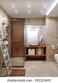 Modern bathroom interior with stone travertine tiles. 3d rendering.