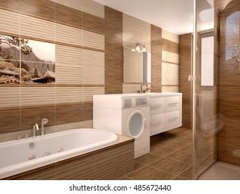 Modern bathroom interior in warm tones. 3d illustration