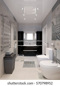 Modern bathroom interior with white beige gray tiles, black cabinets, shower and big mirror. 3d rendering