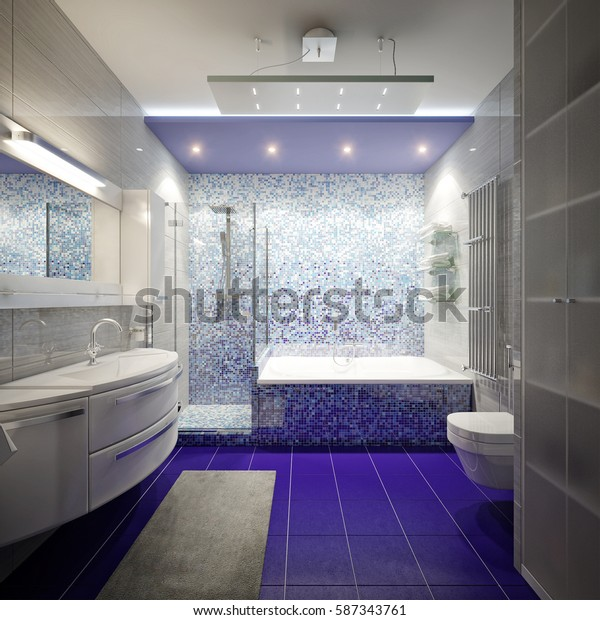Modern bathroom interior with white, gray and blue tiles and mosaic. 3d rendering