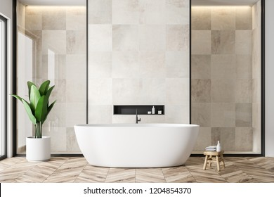 Modern bathroom interior with white tile walls, wooden floor and white bathtub. 3d rendering copy space