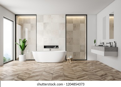 Modern bathroom interior with white tile walls, wooden floor, white bathtub and double sink. Loft window. 3d rendering
