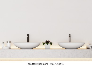 Modern bathroom interior with white walls, and a double sink on a white shelf. 3d rendering, mock up