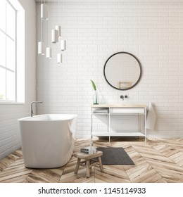 Modern bathroom interior with white walls, a wooden floor, a bathtub standing near the window, and a sink. 3d rendering mock up