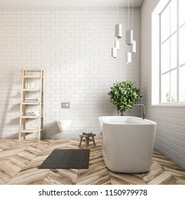 Modern bathroom interior with white walls, a wooden floor, a bathtub standing under the window, and shelves. Side view 3d rendering mock up