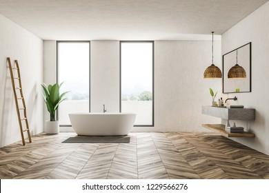 Modern bathroom interior with white walls, wooden floor, loft windows, white bathtub and marble double sink. 3d rendering