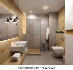 Modern Bathroom interior with wood elements; 3d ilustration, 3d rendering