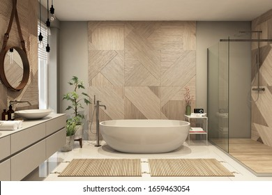 Modern bathroom interior with wooden decor in eco style. 3D Render