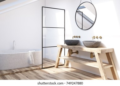 Modern bathroom interior with a wooden shelf, two sinks standing on it, a round mirror and a tub. 3d rendering mock up
