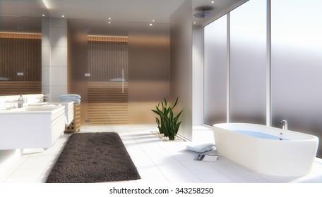Modern bathroom with sauna - 3D render