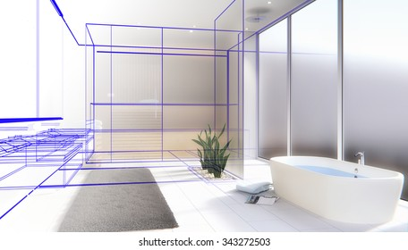 Modern bathroom with sauna - 3D render