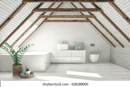 Modern bathroom with white attic walls, wooden framework and roof window. Minimalist interior design concept. 3d rendering