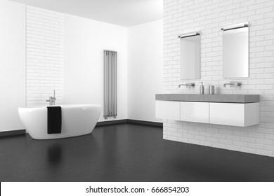 modern bathroom with white brick wall and dark floor in resin, 3d rendering