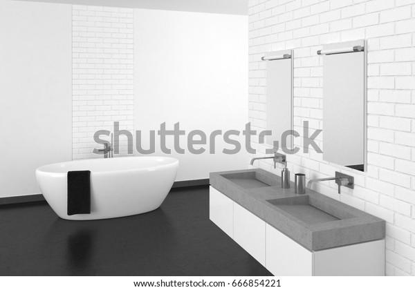 Modern Bathroom White Brick Wall Dark Stock Illustration 666854221