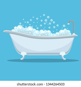 Modern bathtub with foam shower isolated on background. Element for design bathroom. illustration in flat style Raster version