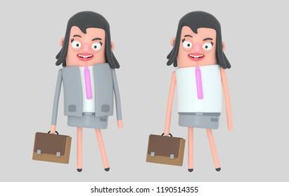 Modern beautiful businesswoman. 3d illustration