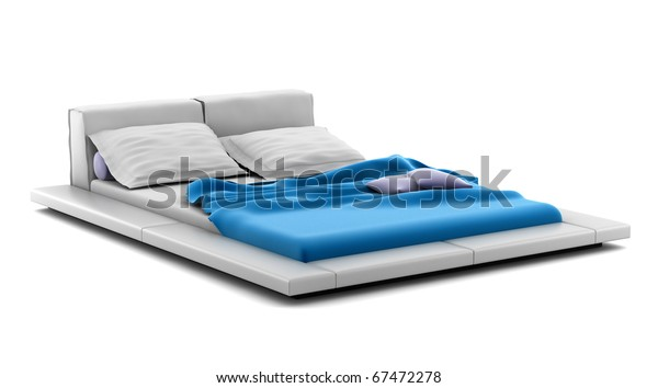 modern bed isolated on white background