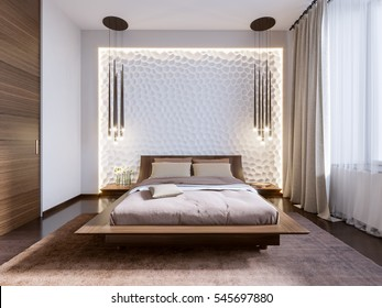 Modern bedroom with 3D panels on the wall. 3d render.