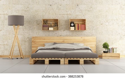 Modern bedroom with bed pallet on brick wall - 3D Rendering