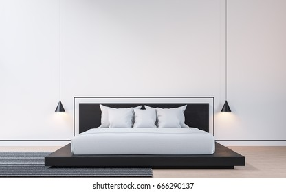 Modern bedroom with black and white 3d rendering image . There are wood floor White walls decorated with black grooves. Furnished with black wooden beds and white mattresses.