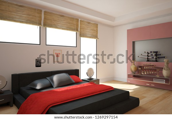 . Modern Bedroom Chinese Style Interior Design Stock Illustration