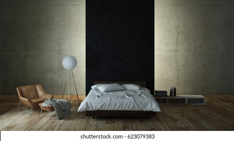 Modern bedroom with concrete wall and indirect illumination 3d rendering