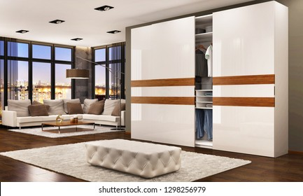 Modern bedroom design with sliding wardrobe. Evening view. 3D rendering