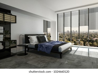Modern bedroom with a divan style bed on a tiled floor and large panoramic windows with blinds overlooking a green city. 3d rendering